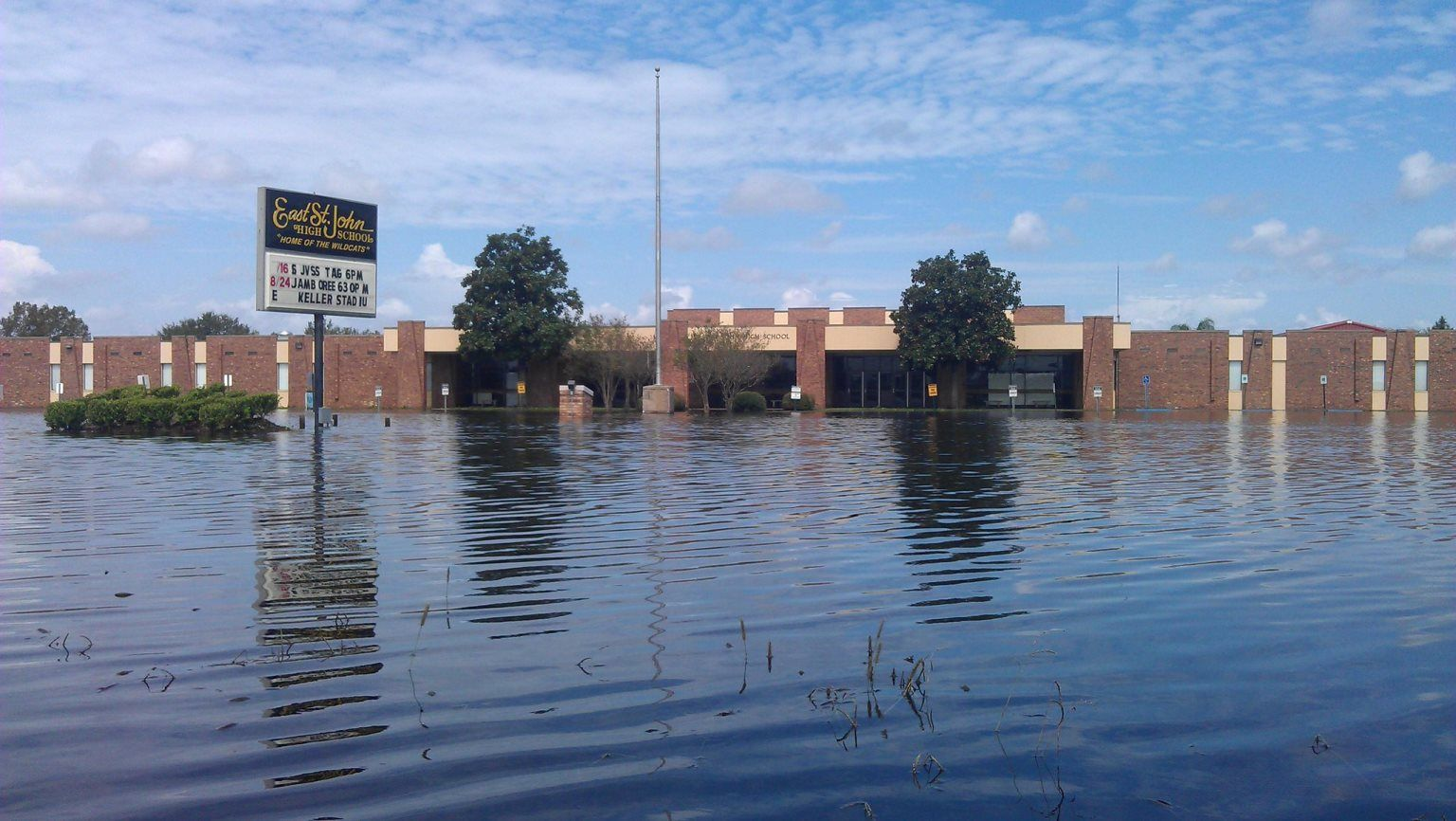 East St. John High School during flood