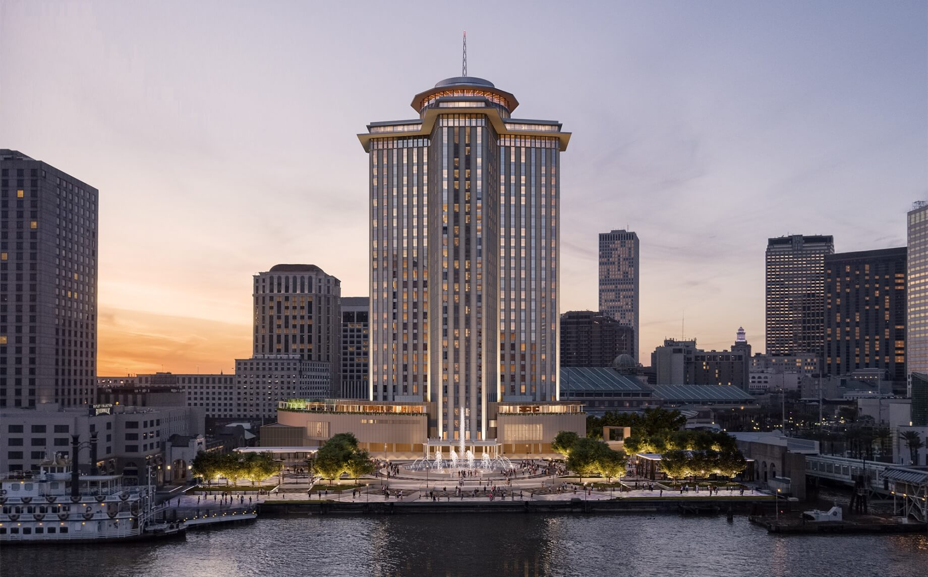 A rendering of the Four Seasons Hotel in New Orleans
