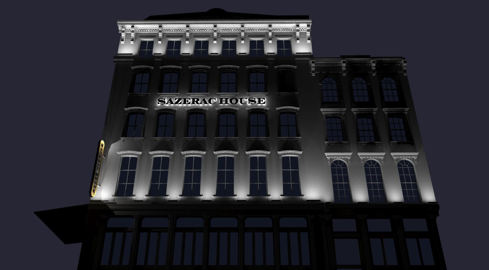 Sazerac House Exterior Lighting Rendering