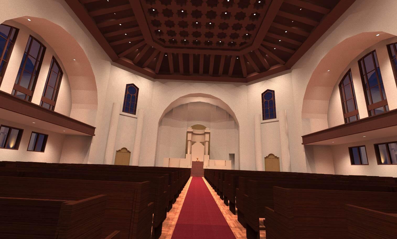 Rendering of Temple Sinai Lighting Design